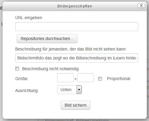 Bildschirmfoto das zeigt wo die Bilbeschreibung im iLearn hinterlegt werden sollte